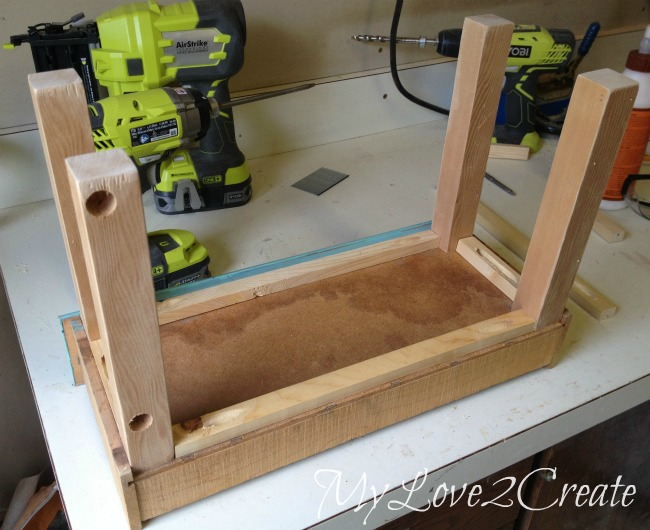 using scrap wood to make a base and legs for drawer bottom