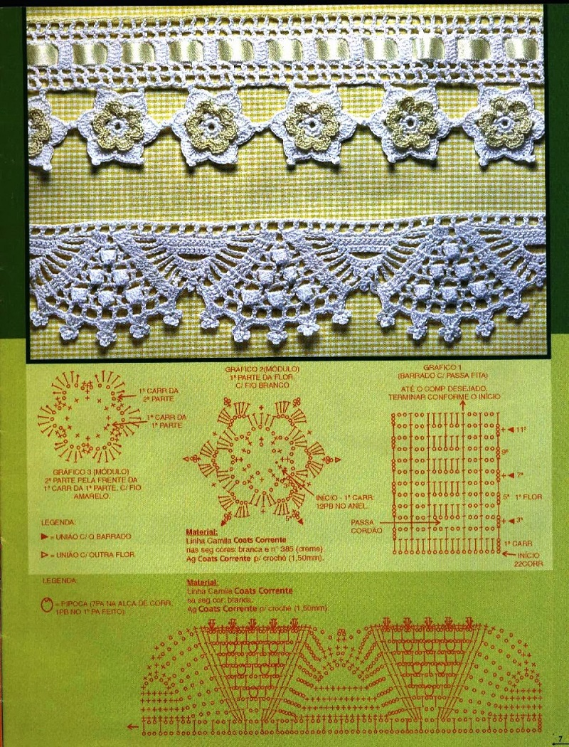 Bicos de Crochê Com Gráfico 4 e 5 - Barradinhos - Coleção Bordados Modernos