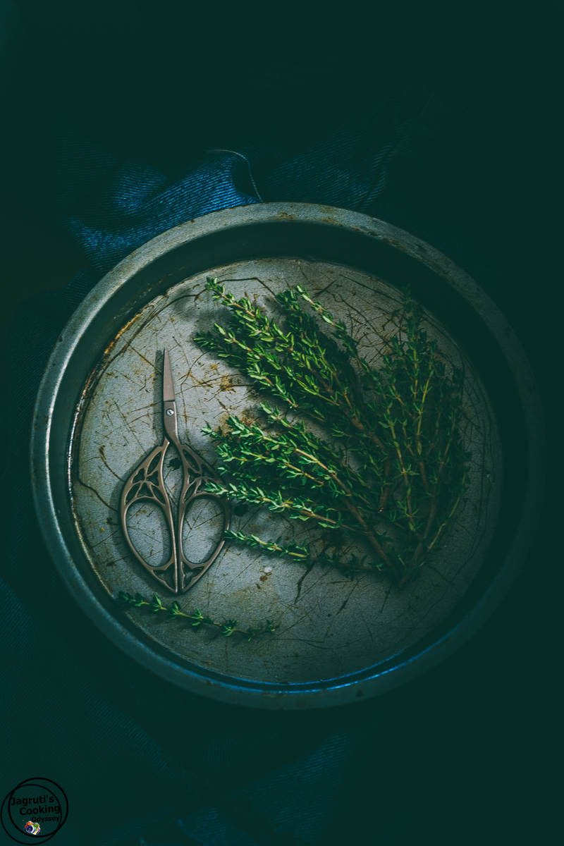 Fresh herb thyme dark and moody image