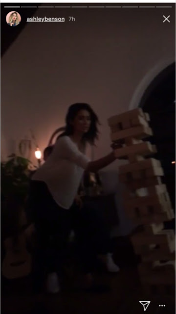 PLL Reunion house party game night: Shay Mitchell plays giant Jenga