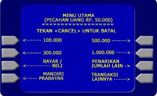 Gambar pilihan nominal transaksi tarik tunai di atm bank mandiri