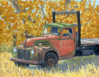 painting truck abandoned rusty Ford autumn flatbed