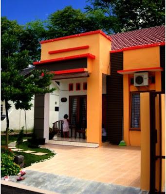 Desain Terbaru Kombinasi Warna Cat Orange Rumah Minimalis Tampilan stylish dan modern 4