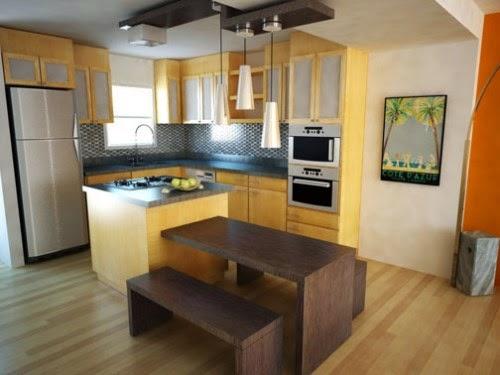 Contoh dapur minimalis sederhana dan ruang makan yang menyatu