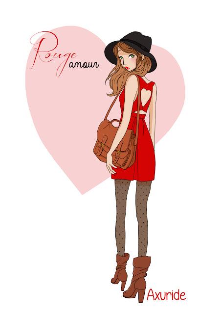 illustration d'une femme en robe rouge, illustration féminine mode.