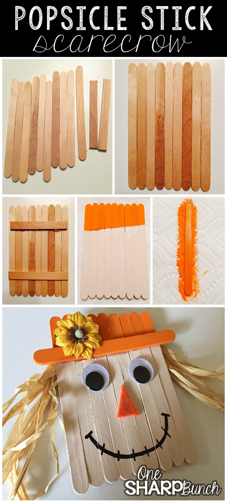Popsicle Stick Scarecrow One Sharp Bunch
