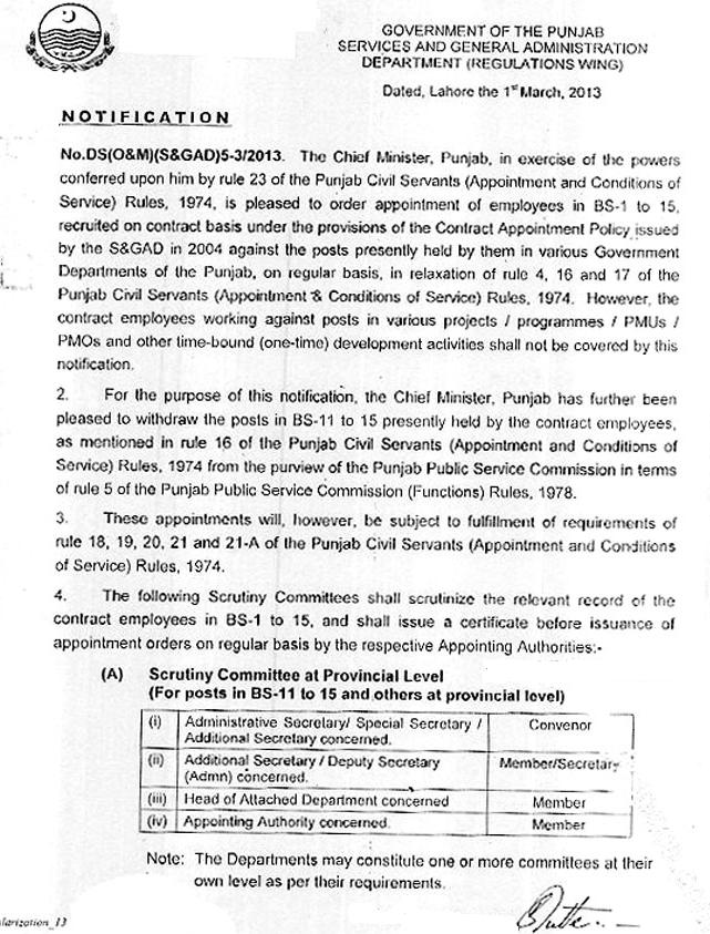Notification of Regularization of BPS-16 & and above in