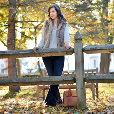 Brown Faux Fur Vest and Flare Jeans