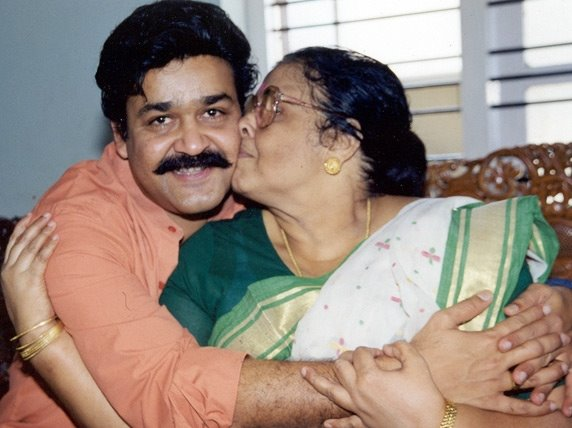 Malayalam film actor Mohanlal with his mother