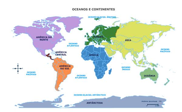 Mapa Para Jugar Dónde Está Continentes Y Océanos: Mapa Con Los Continentes Y Oceanos A Geografia 233 Para