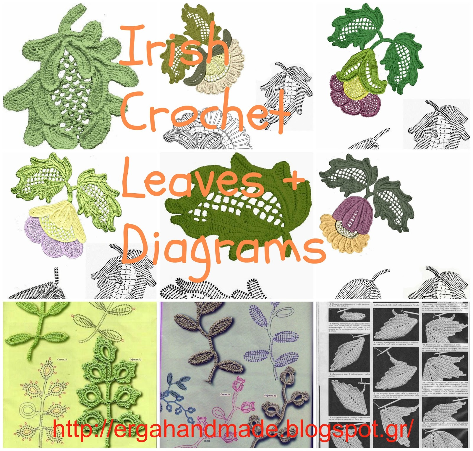 Ergahandmade irish crochet leaves diagrams irish crochet leaves diagrams ccuart Images