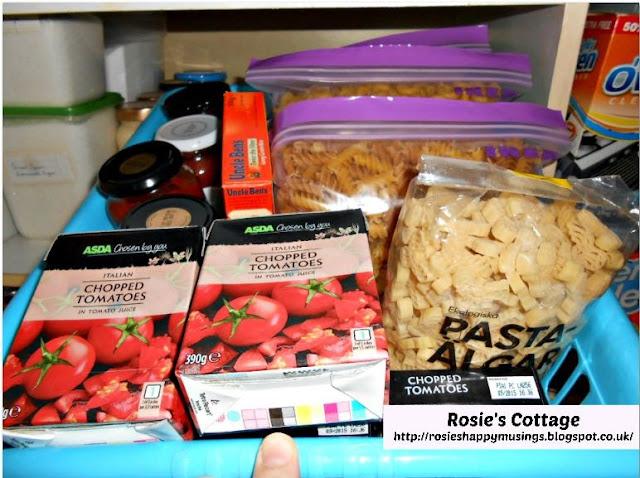 Organized pantry pasta basket