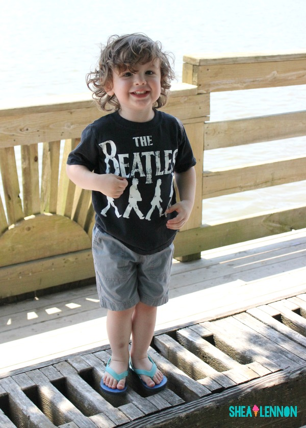 easy summer style for toddler boy - graphic tee with gray shorts and flip flops