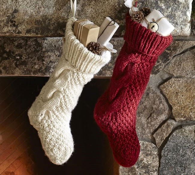 pictured above pottery barn chunky cable handknit pillow cover pottery barn chunky knit stocking set of 3 rusty primitive star christmas ornaments by - Primitive Christmas Stockings