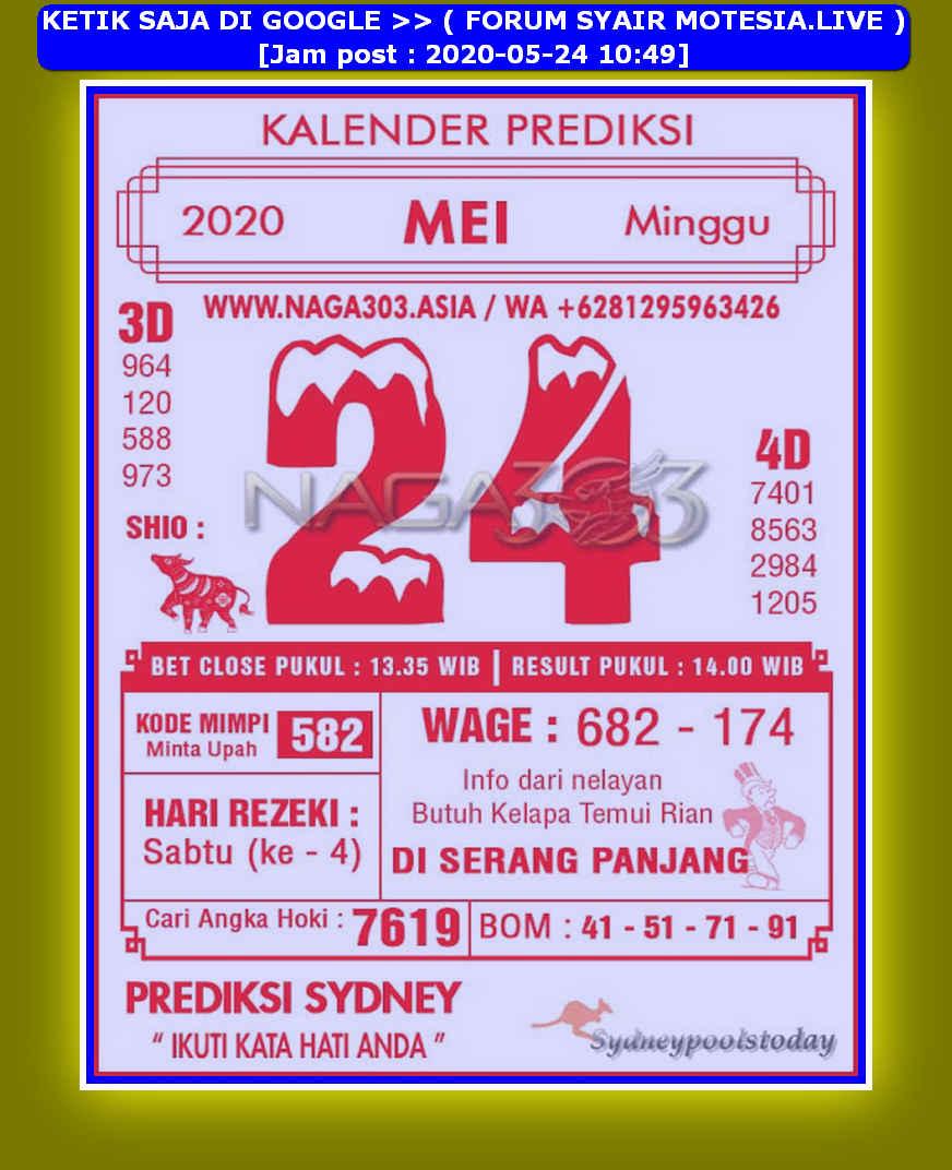 Kode syair Sydney Minggu 24 Mei 2020 102