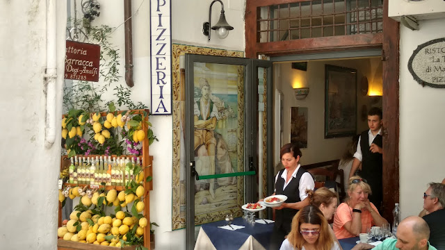 a restaurant in Positano- note the lemons