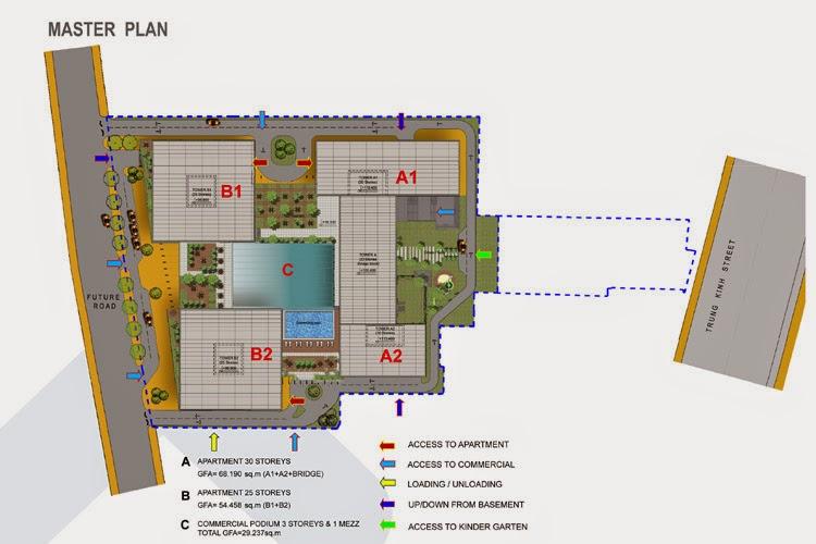 Mặt bằng các tòa tháp A1, B1, A2, B2