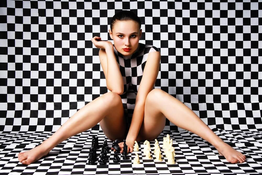 Girl with Chess Creative Image