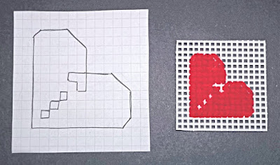 Chart and sample of corner heart