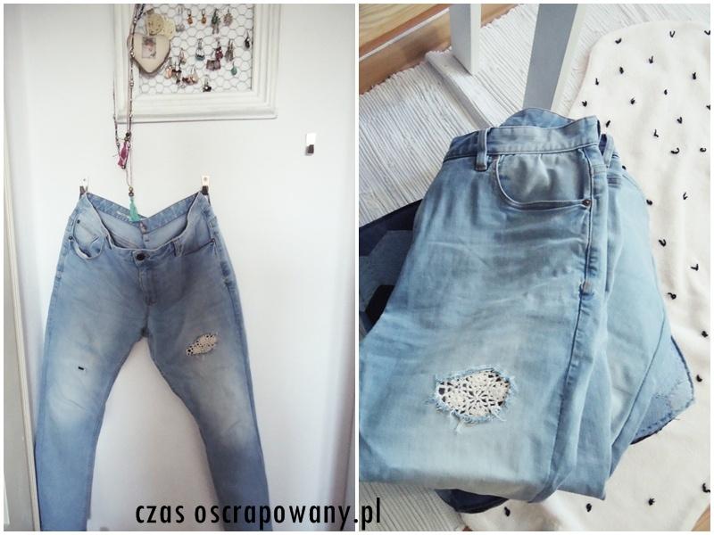 jeansy z dziurami i szydełkową wstawką, diy