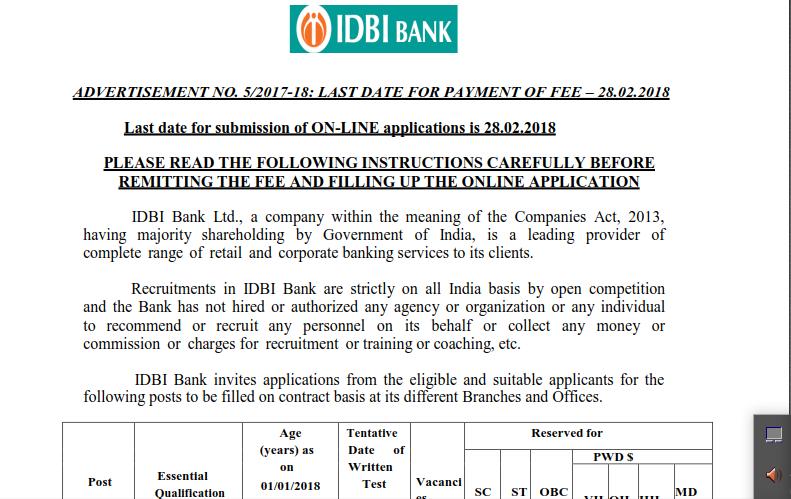 Idbi Bank Executive Vacancy 2018 760 Post Official Notice Target