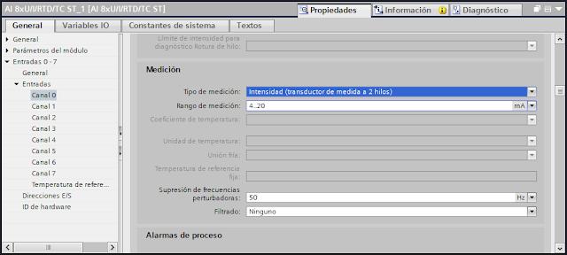 Configurar parámetros de medición de una entra analógica tia portal v14