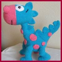 Dino azul amigurumi