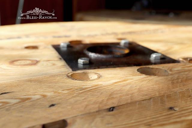Wood Spool, tree slice and log crudite display, Bliss-Ranch.com
