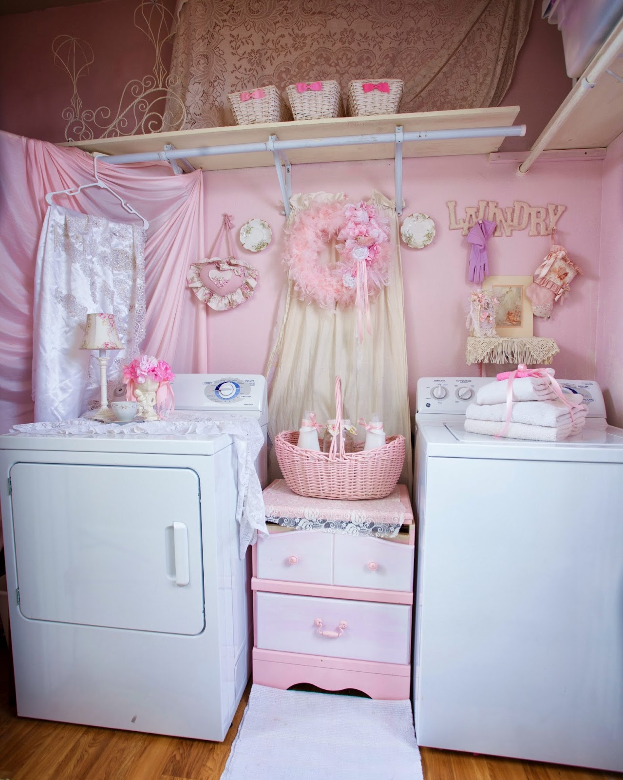 Pink Shabby Chic Dresser: Olivia's Romantic Home: Shabby Chic Pink Laundry Room
