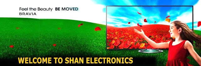 Please Visit Our Website | SHAN Electronics Welcome Banner with Little Girl Bravia be Moved.