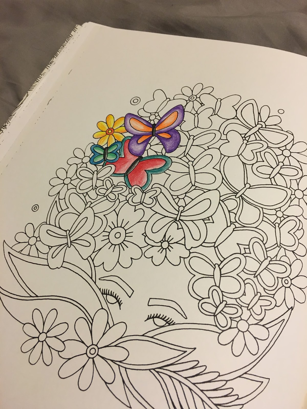 Take A Look At This Page With Butterflies And Flowers As Hair I Used Prismacolor Colored Pencils To Make Use Of Shading Add Some Contrast It