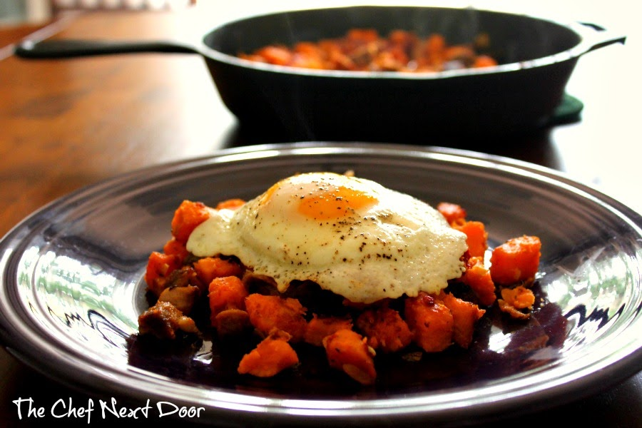 Cajun Pork Belly & Sweet Potato Hash | The Chef Next Door