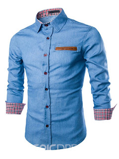 Single-Breasted Patched Denim Slim Men's Shirt