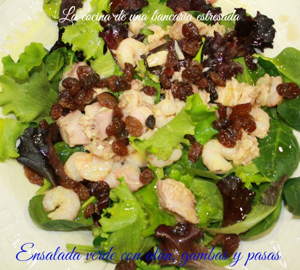 Receta de ensalada verde con atún y gambas