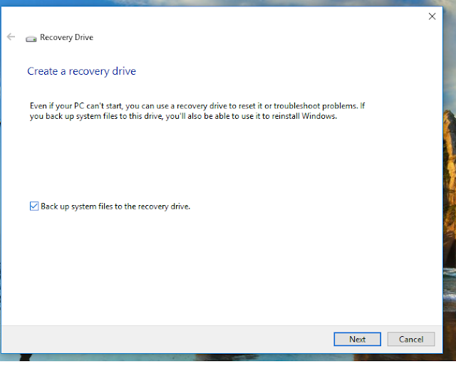 Windows 10 recovery USB drive.