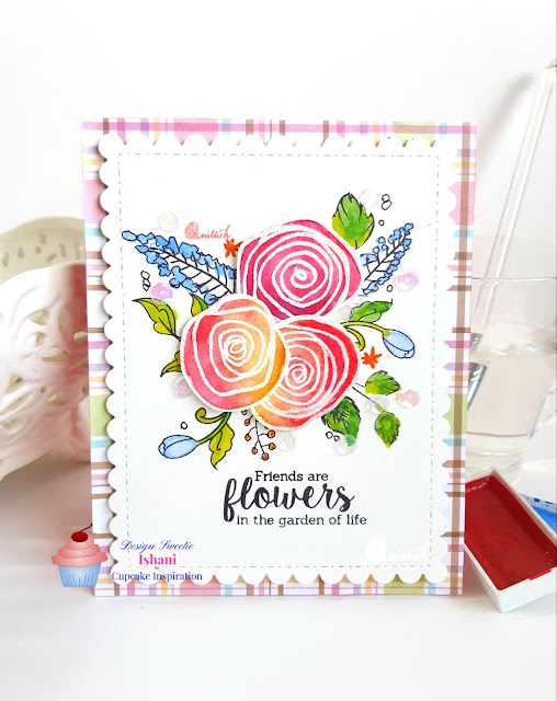 CIC, hand drawn card, embossresist, gansai tambi watercolours, Uniko Ltd, water colouring, floral card, friendship,  cards by ishani, quillish , card for best friend