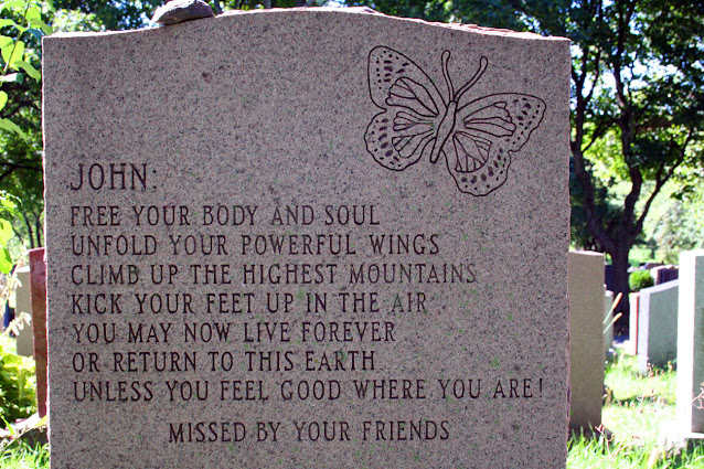 """Headstone Montreal Cemetery acrostic """"fuck you"""" epitaph engraving message"""