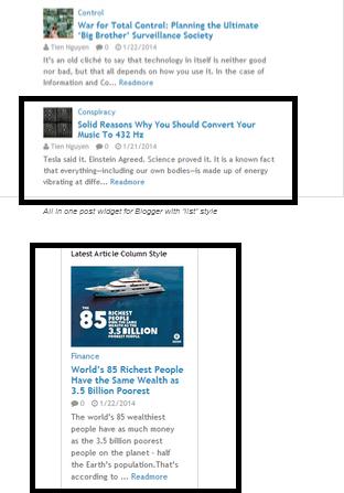 Blogger最新・ランダム記事ウィジェット「リストとコラム」