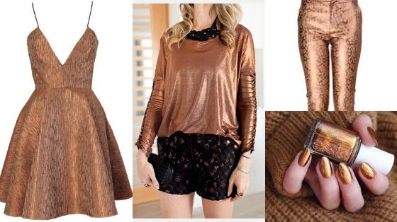 looks roupas cor bronze