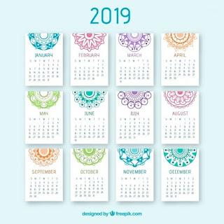 Bonito calendario 2019 con mandalas