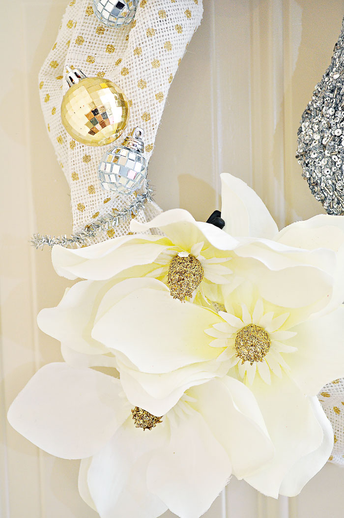 An easy and quick DIY glam gold and silver polka dot holiday wreath tutorial. Simple, sparkly and bright.