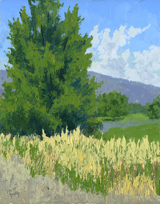 art painting landscape summer tree rural open space