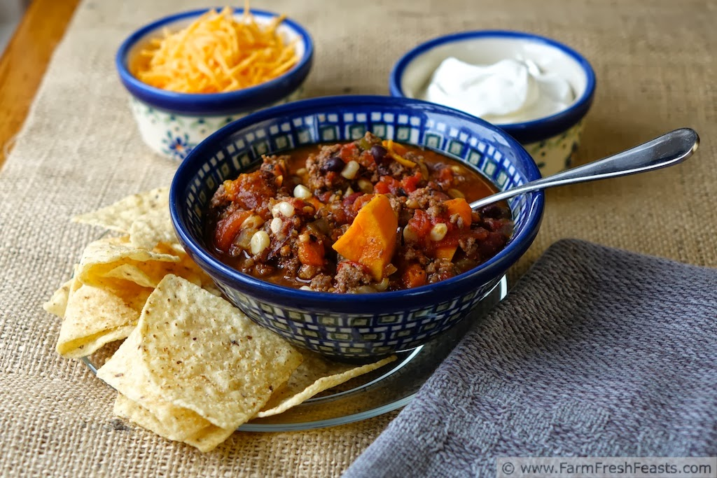 Slow Cooker Sweet Potato Chili with Hatch Chiles, Corn, and Beef | Farm Fresh Feasts