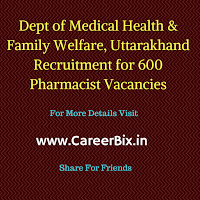 Dept of Medical Health & Family Welfare, Uttarakhand Recruitment for 600 Pharmacist Vacancies