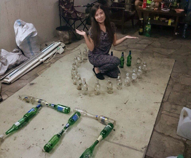 A passionate girl forming bottles