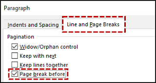 Memaksa Page Break Sebelum Paragraf Tertentu 2