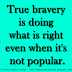 True bravery is doing what's right even when it's not popular.