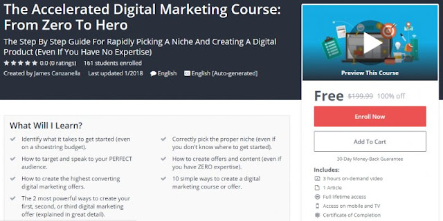 [100% Off] The Accelerated Digital Marketing Course: From Zero To Hero| Worth 199,99$