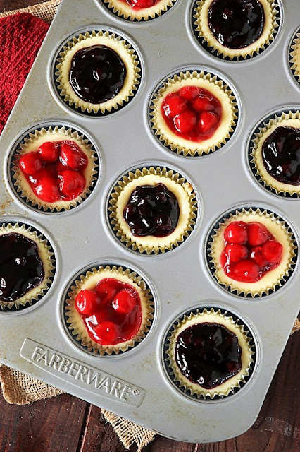 Red White & Blue Mini Cheesecakes in Cupcake Pan Image