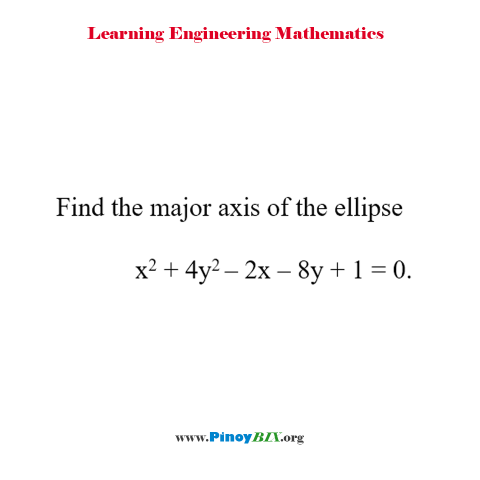 Find the major axis of the ellipse x^2 + 4y^2 – 2x – 8y + 1 = 0.